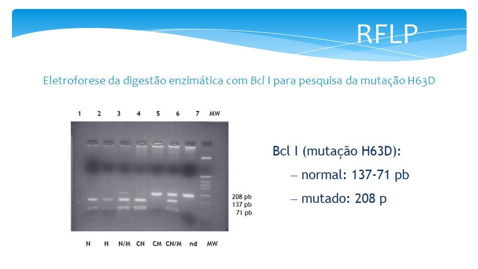 RFLP Eletroforese da digestão enzimática com Bcl I para pesquisa da mutação H63D
