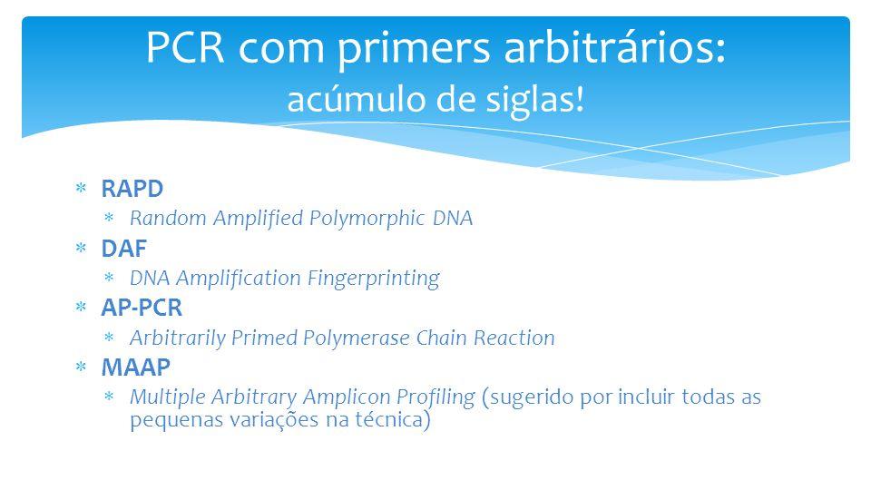 PCR com primers arbitrários: acúmulo de siglas.