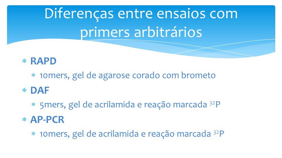 Diferenças entre ensaios com primers arbitrários RAPD 10mers, gel de agarose corado com brometo DAF 5mers, gel de acrilamida e reação marcada 32 P AP-PCR 10mers, gel de acrilamida e reação marcada 32 P