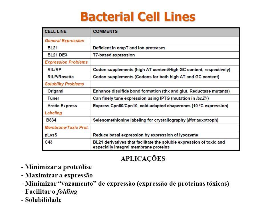APLICAÇÕES - Minimizar a proteólise - Maximizar a expressão - Minimizar vazamento de expressão (expressão de proteínas tóxicas) - Facilitar o folding