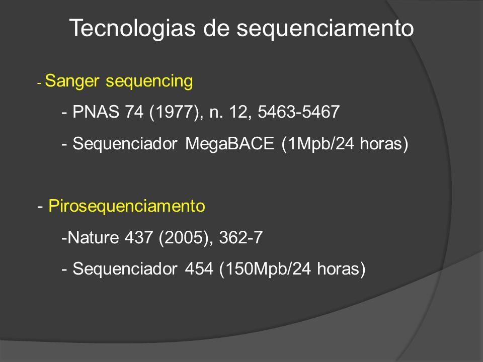 Tecnologias de sequenciamento - Sanger sequencing - PNAS 74 (1977), n.