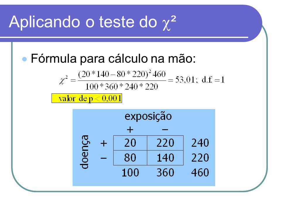 Aplicando o teste do ² Fórmula para cálculo na mão: