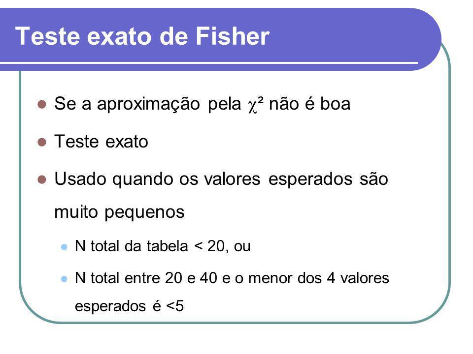 Teste exato de Fisher Se a aproximação pela ² não é boa Teste exato Usado quando os valores esperados são muito pequenos N total da tabela < 20, ou N