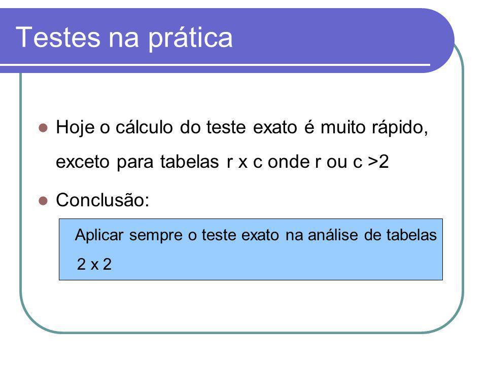 Testes na prática Hoje o cálculo do teste exato é muito rápido, exceto para tabelas r x c onde r ou c >2 Conclusão: Aplicar sempre o teste exato na an