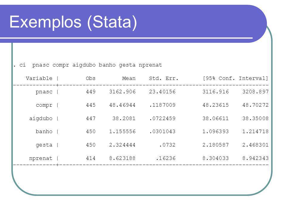 Exemplos (Stata). ci pnasc compr aigdubo banho gesta nprenat Variable | Obs Mean Std. Err. [95% Conf. Interval] -------------+------------------------