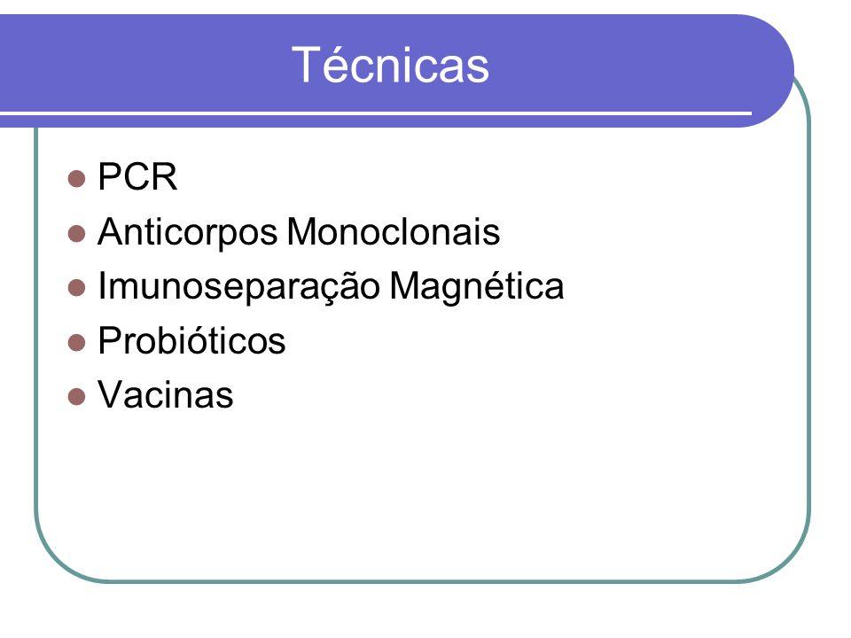 Técnicas PCR Anticorpos Monoclonais Imunoseparação Magnética Probióticos Vacinas