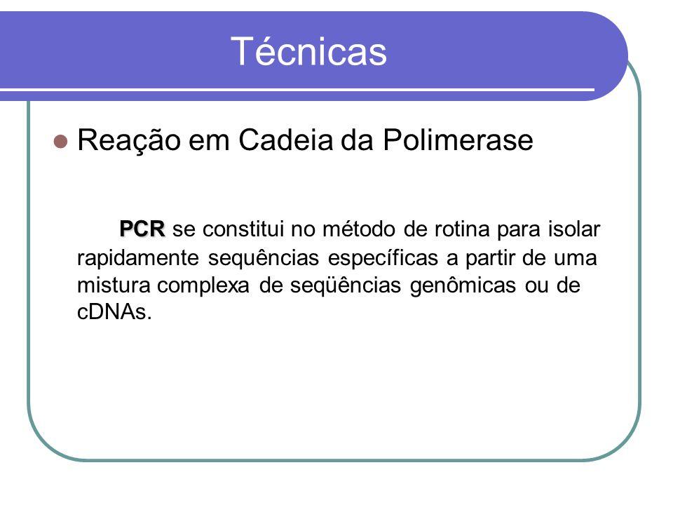 Técnicas Reação em Cadeia da Polimerase PCR PCR se constitui no método de rotina para isolar rapidamente sequências específicas a partir de uma mistura complexa de seqüências genômicas ou de cDNAs.