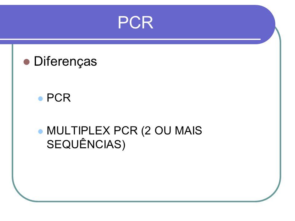 PCR Diferenças PCR MULTIPLEX PCR (2 OU MAIS SEQUÊNCIAS)