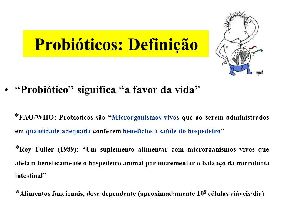 Probióticos: Definição Probiótico significa a favor da vida * FAO/WHO: Probióticos são Microrganismos vivos que ao serem administrados em quantidade adequada conferem benefícios à saúde do hospedeiro * Roy Fuller (1989): Um suplemento alimentar com microrganismos vivos que afetam beneficamente o hospedeiro animal por incrementar o balanço da microbiota intestinal * Alimentos funcionais, dose dependente (aproximadamente 10 8 células viáveis/dia)