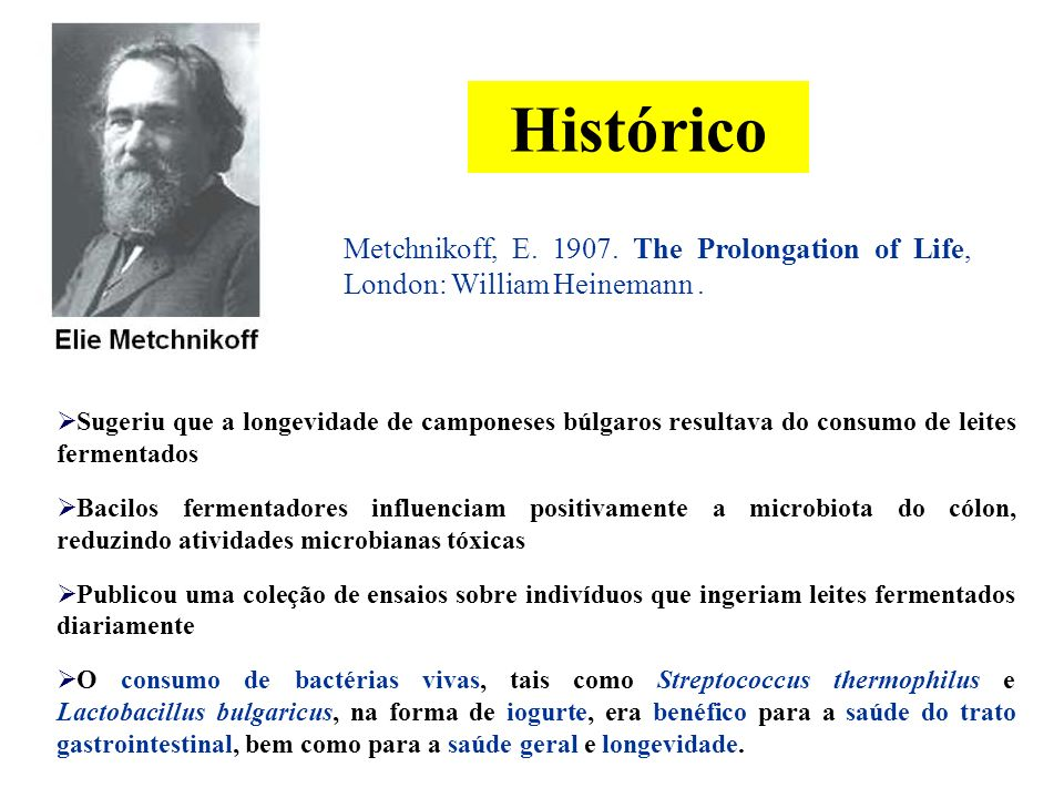 Histórico Metchnikoff, E.1907. The Prolongation of Life, London: William Heinemann.