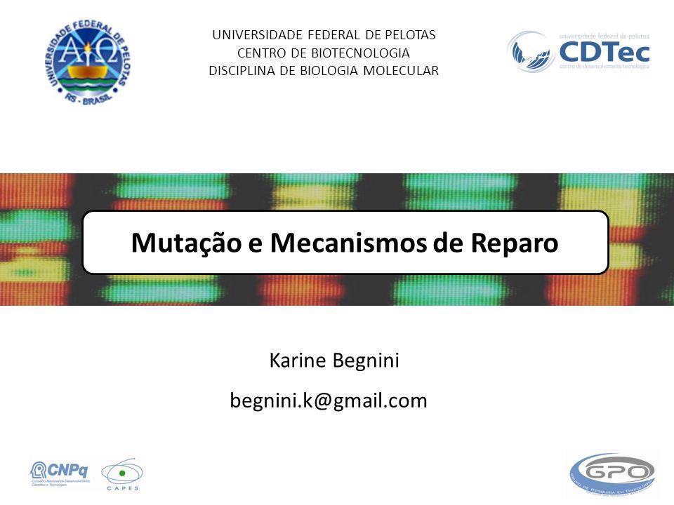 Mutação e Mecanismos de Reparo UNIVERSIDADE FEDERAL DE PELOTAS CENTRO DE BIOTECNOLOGIA DISCIPLINA DE BIOLOGIA MOLECULAR Karine Begnini begnini.k@gmail