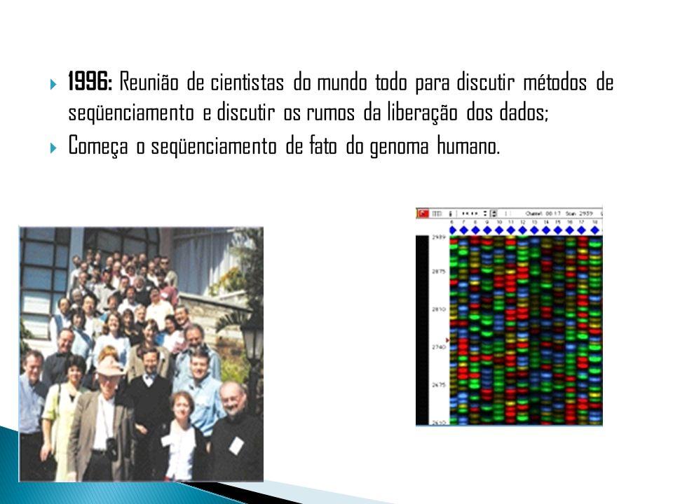 1996: Reunião de cientistas do mundo todo para discutir métodos de seqüenciamento e discutir os rumos da liberação dos dados; Começa o seqüenciamento