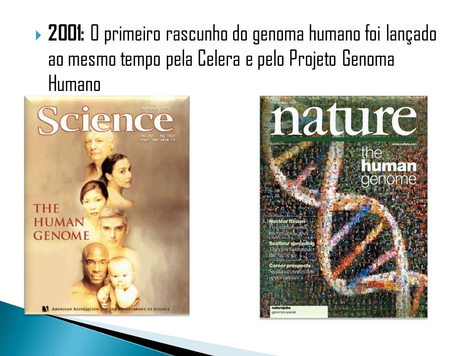 2003: Projeto Genoma Humano concluído 2004: