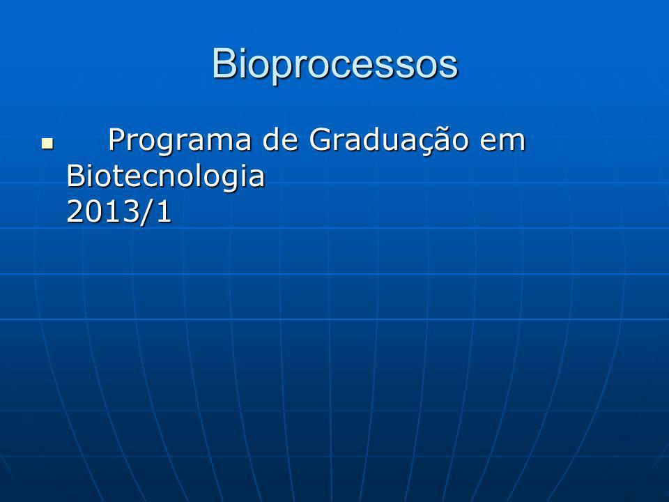 Bioprocessos Programa de Graduação em Biotecnologia 2013/1 Programa de Graduação em Biotecnologia 2013/1