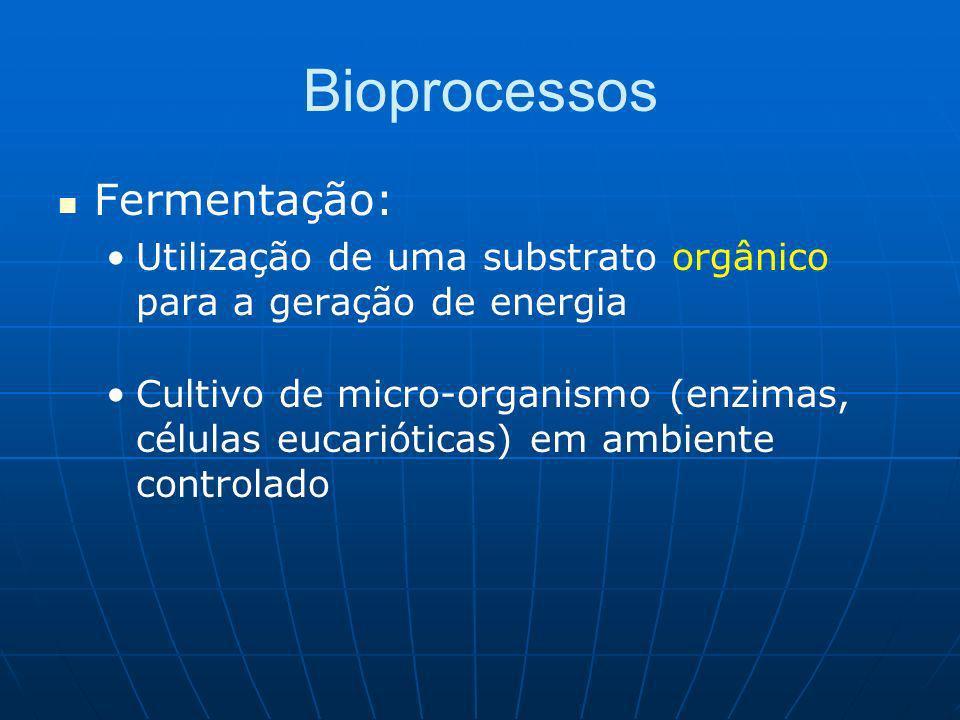 Bioprocessos Fermentação: Utilização de uma substrato orgânico para a geração de energia Cultivo de micro-organismo (enzimas, células eucarióticas) em ambiente controlado