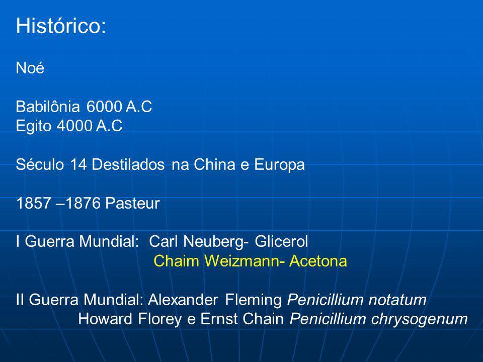 Histórico: Noé Babilônia 6000 A.C Egito 4000 A.C Século 14 Destilados na China e Europa 1857 –1876 Pasteur I Guerra Mundial: Carl Neuberg- Glicerol Ch
