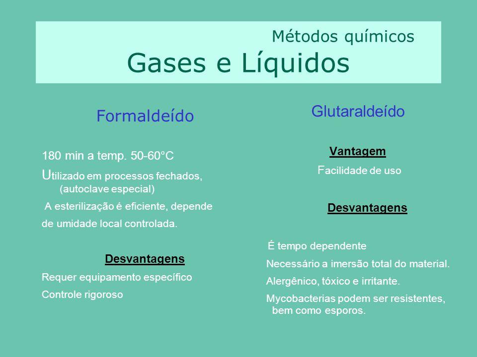 Métodos químicos Gases e Líquidos Formaldeído 180 min a temp.
