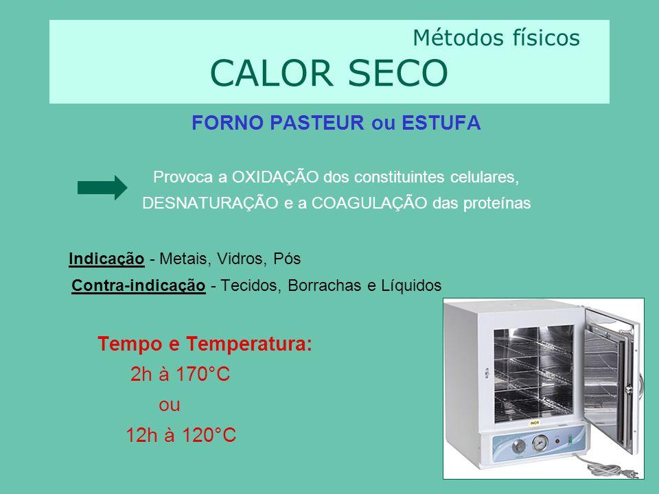 Métodos físicos CALOR SECO FORNO PASTEUR ou ESTUFA Provoca a OXIDAÇÃO dos constituintes celulares, DESNATURAÇÃO e a COAGULAÇÃO das proteínas Indicação - Metais, Vidros, Pós Contra-indicação - Tecidos, Borrachas e Líquidos Tempo e Temperatura: 2h à 170°C ou 12h à 120°C