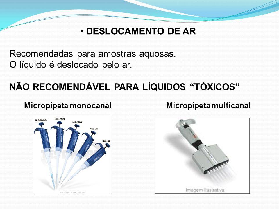 DESLOCAMENTO DE AR Recomendadas para amostras aquosas. O líquido é deslocado pelo ar. NÃO RECOMENDÁVEL PARA LÍQUIDOS TÓXICOS Micropipeta monocanal Mic