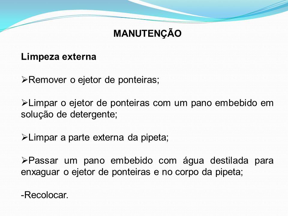 MANUTENÇÃO Limpeza externa Remover o ejetor de ponteiras; Limpar o ejetor de ponteiras com um pano embebido em solução de detergente; Limpar a parte e