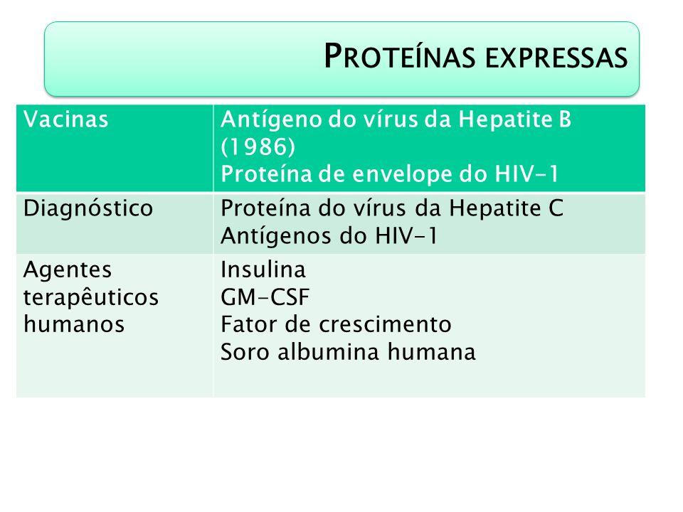 P ROTEÍNAS EXPRESSAS VacinasAntígeno do vírus da Hepatite B (1986) Proteína de envelope do HIV-1 DiagnósticoProteína do vírus da Hepatite C Antígenos