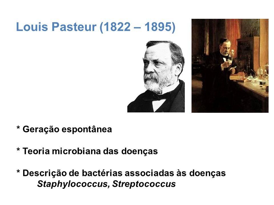 Robert Koch (1843 - 1910) * Postulados de Koch * Mycobacterium tuberculosis – bacilo de Koch * Prêmio Nobel de Medicina em 1905