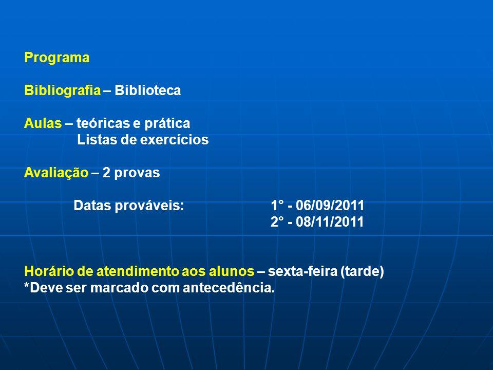 Programa Bibliografia – Biblioteca Aulas – teóricas e prática Listas de exercícios Avaliação – 2 provas Datas prováveis:1° - 06/09/2011 2° - 08/11/201