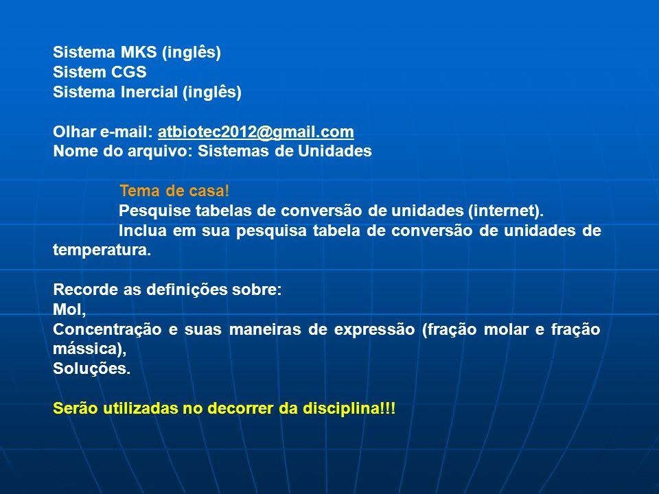 Sistema MKS (inglês) Sistem CGS Sistema Inercial (inglês) Olhar e-mail: atbiotec2012@gmail.comatbiotec2012@gmail.com Nome do arquivo: Sistemas de Unid