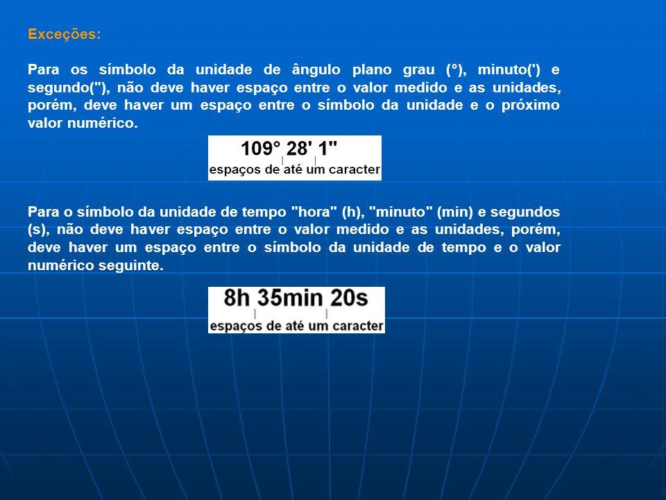 Exceções: Para os símbolo da unidade de ângulo plano grau (°), minuto(') e segundo(