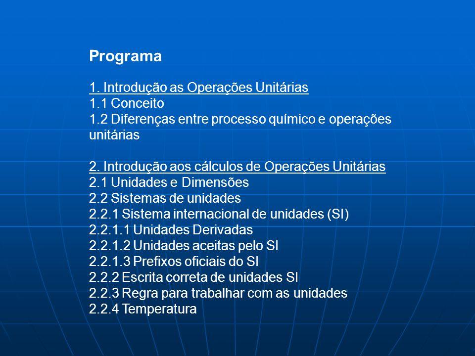 Programa 1. Introdução as Operações Unitárias 1.1 Conceito 1.2 Diferenças entre processo químico e operações unitárias 2. Introdução aos cálculos de O