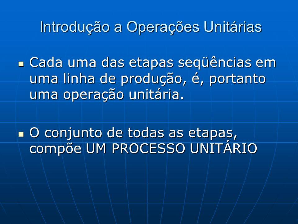 Cada uma das etapas seqüências em uma linha de produção, é, portanto uma operação unitária. Cada uma das etapas seqüências em uma linha de produção, é