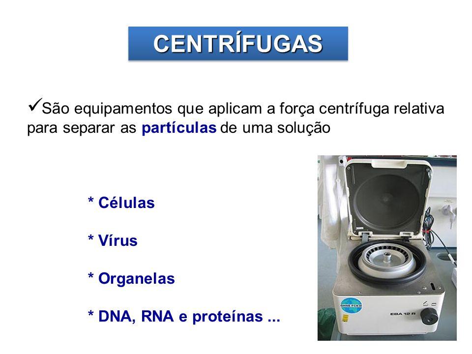 CENTRÍFUGASCENTRÍFUGAS São equipamentos que aplicam a força centrífuga relativa para separar as partículas de uma solução * Células * Vírus * Organela