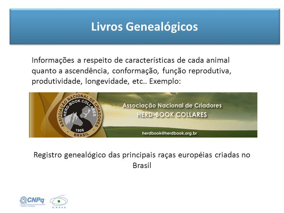 Livros Genealógicos Registro genealógico das principais raças européias criadas no Brasil Informações a respeito de características de cada animal qua