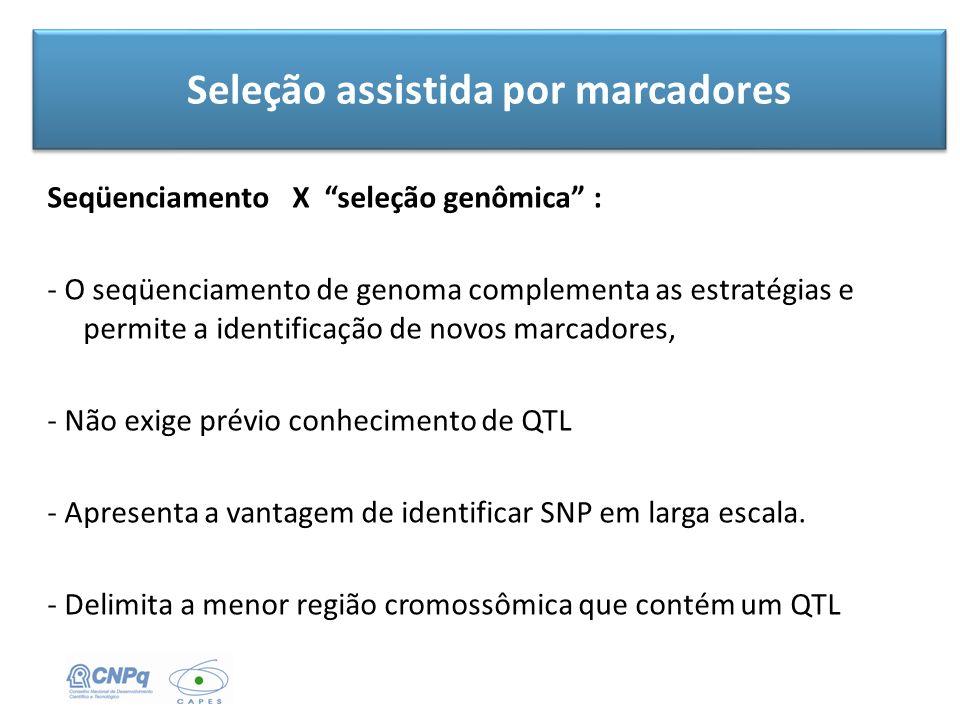 Seleção assistida por marcadores Seqüenciamento X seleção genômica : - O seqüenciamento de genoma complementa as estratégias e permite a identificação