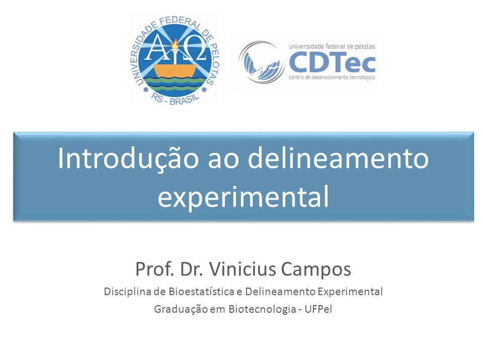 Introdução ao delineamento experimental Prof. Dr. Vinicius Campos Disciplina de Bioestatística e Delineamento Experimental Graduação em Biotecnologia