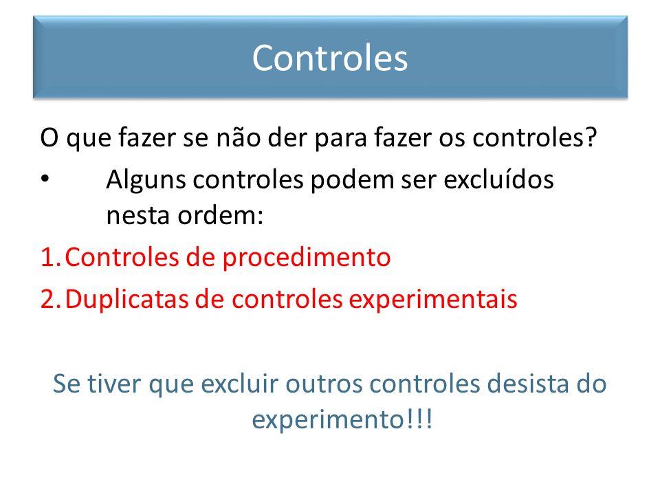 O que fazer se não der para fazer os controles? Alguns controles podem ser excluídos nesta ordem: 1.Controles de procedimento 2.Duplicatas de controle