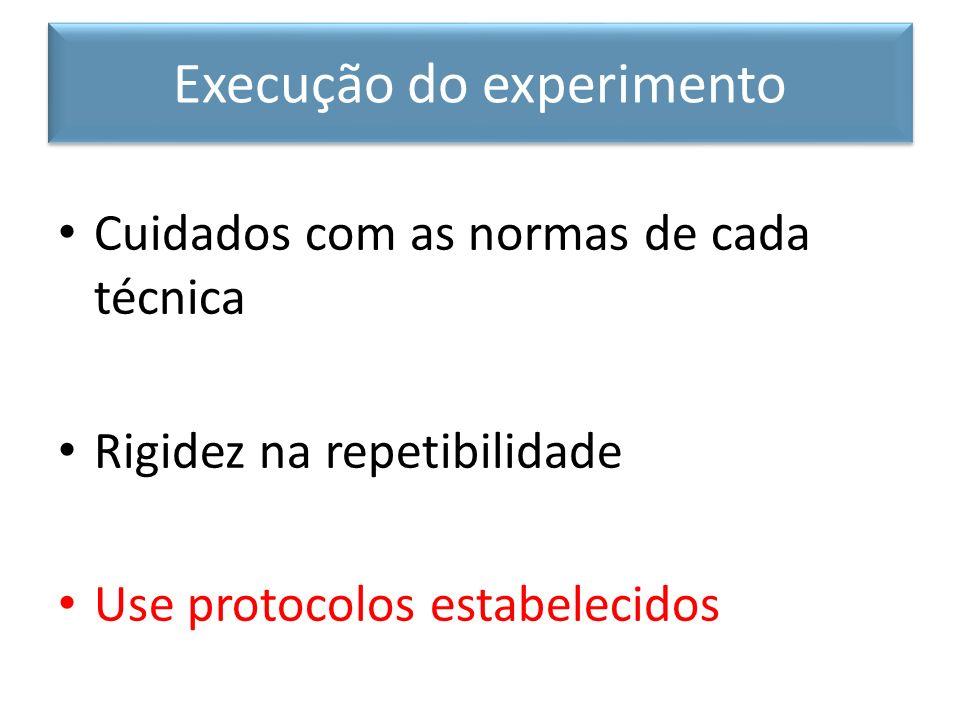 Cuidados com as normas de cada técnica Rigidez na repetibilidade Use protocolos estabelecidos Execução do experimento