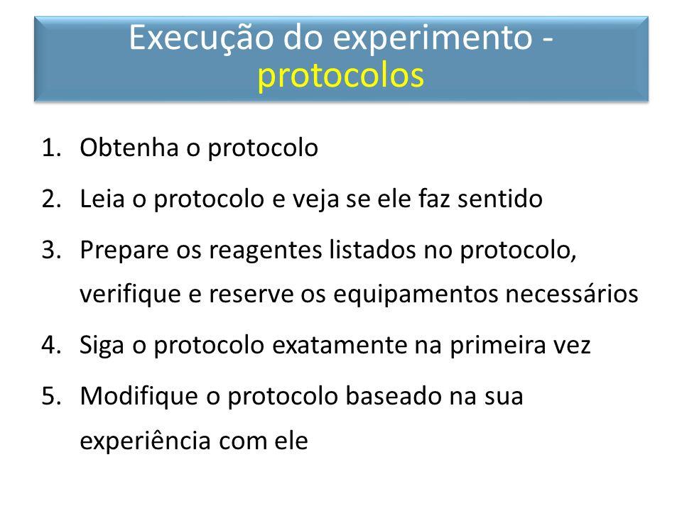 1.Obtenha o protocolo 2.Leia o protocolo e veja se ele faz sentido 3.Prepare os reagentes listados no protocolo, verifique e reserve os equipamentos n