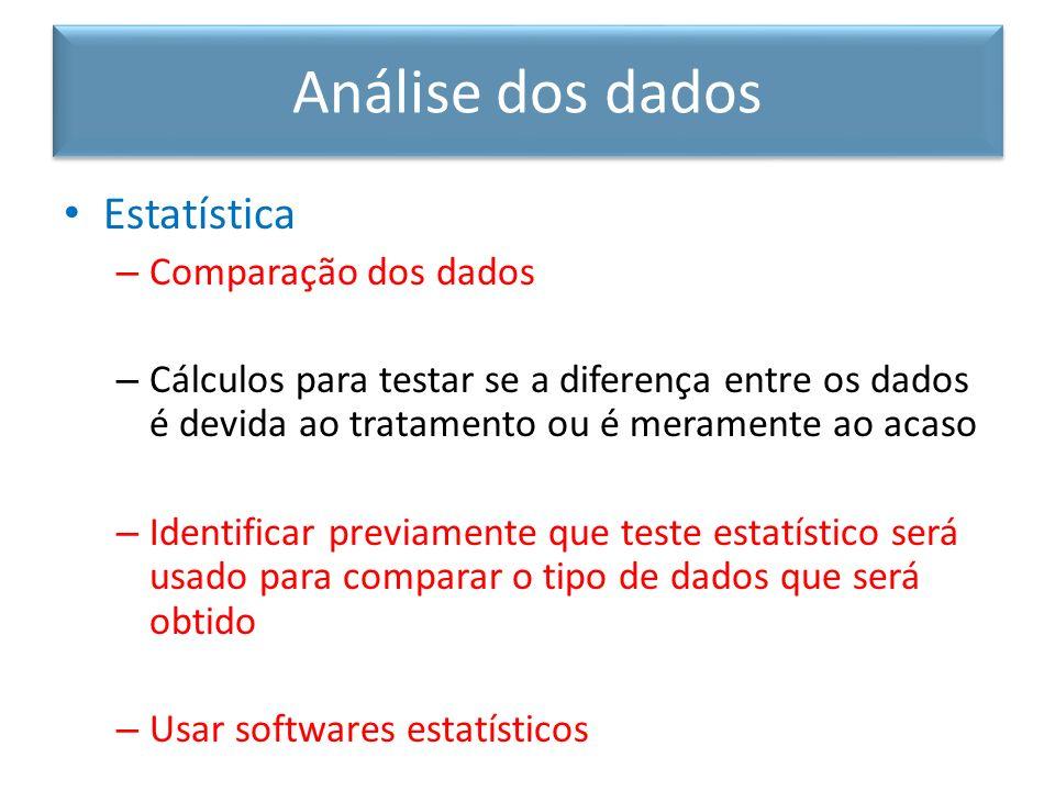 Estatística – Comparação dos dados – Cálculos para testar se a diferença entre os dados é devida ao tratamento ou é meramente ao acaso – Identificar p