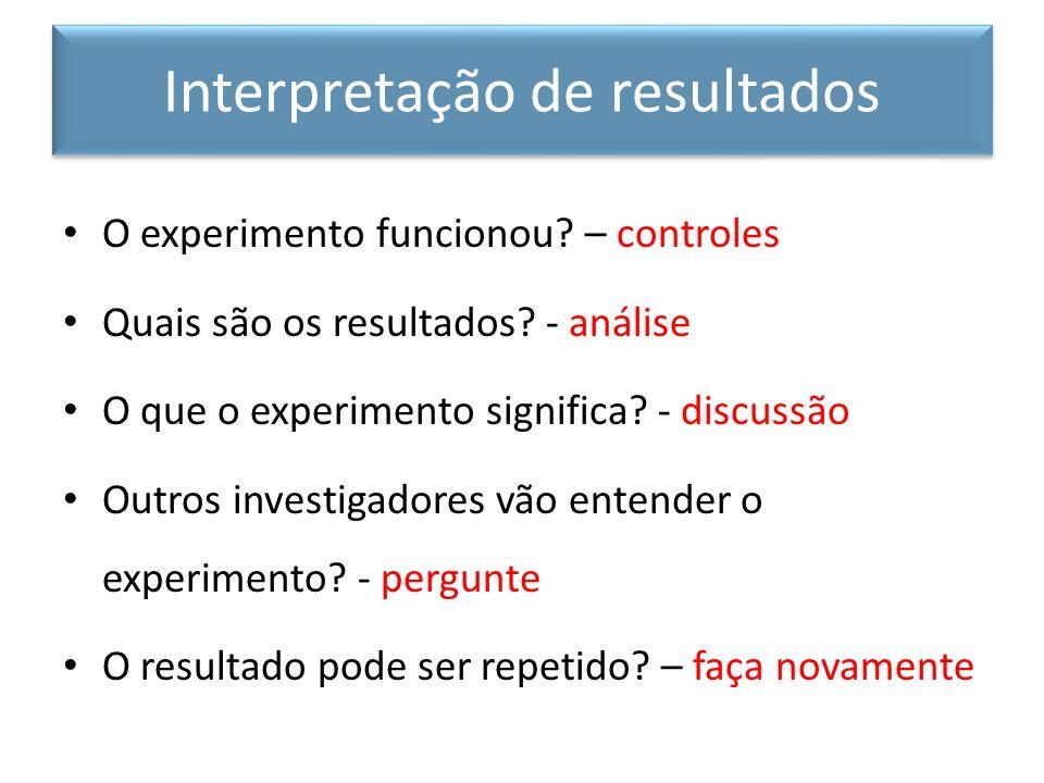 O experimento funcionou? – controles Quais são os resultados? - análise O que o experimento significa? - discussão Outros investigadores vão entender