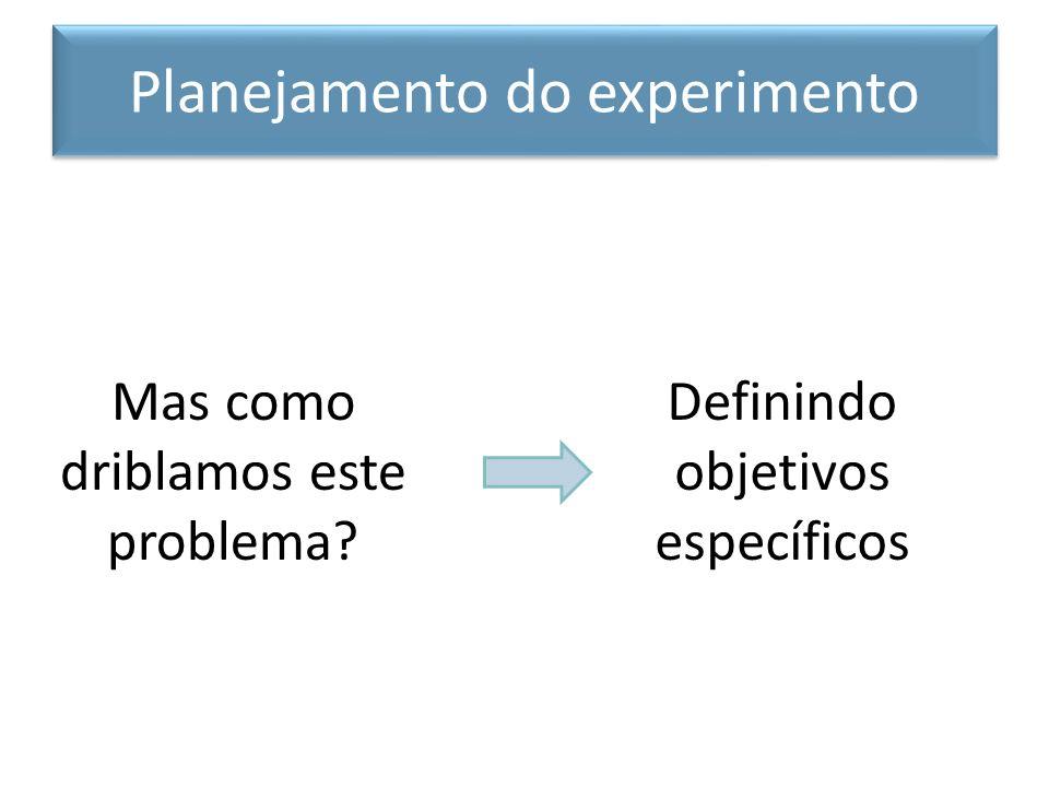 1.Defina a pergunta 2.Esboce o experimento – Variáveis experimentais – Controles – Número de amostras e repetições do exp.