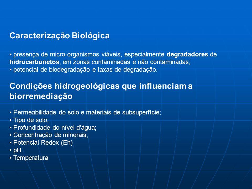 Caracterização Biológica presença de micro-organismos viáveis, especialmente degradadores de hidrocarbonetos, em zonas contaminadas e não contaminadas; potencial de biodegradação e taxas de degradação.