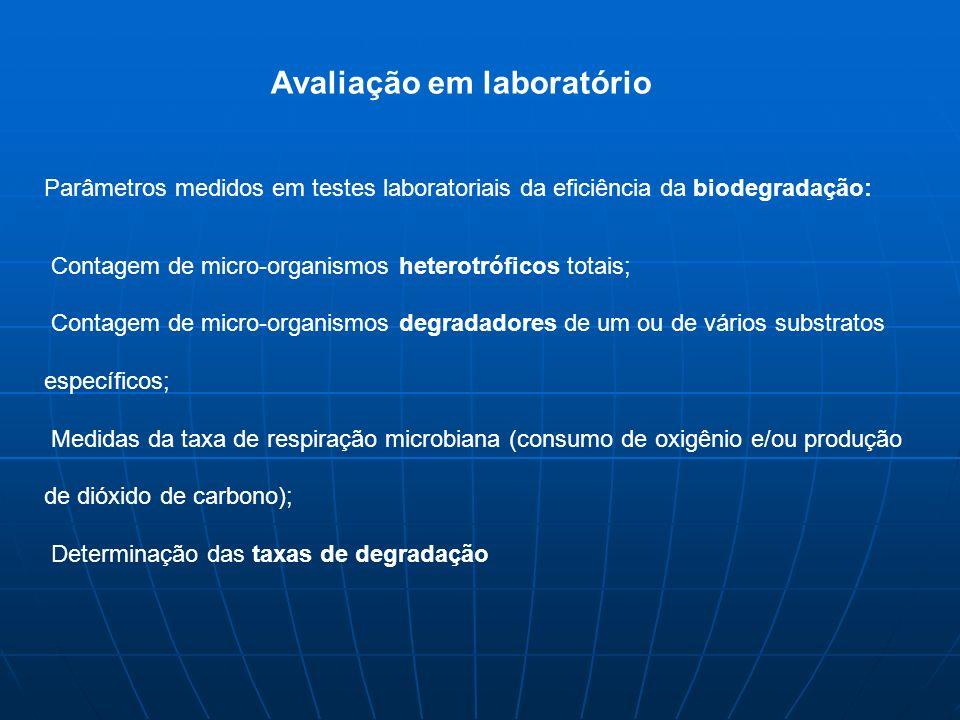 Parâmetros medidos em testes laboratoriais da eficiência da biodegradação: Contagem de micro-organismos heterotróficos totais; Contagem de micro-organismos degradadores de um ou de vários substratos específicos; Medidas da taxa de respiração microbiana (consumo de oxigênio e/ou produção de dióxido de carbono); Determinação das taxas de degradação Avaliação em laboratório