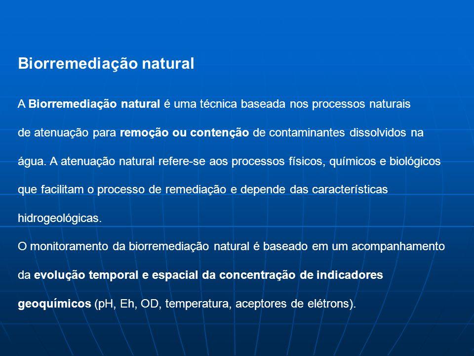 Biorremediação natural A Biorremediação natural é uma técnica baseada nos processos naturais de atenuação para remoção ou contenção de contaminantes dissolvidos na água.