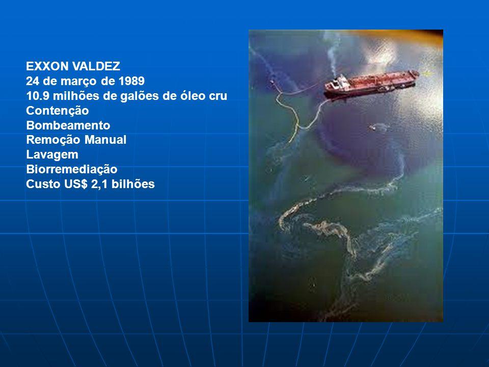 EXXON VALDEZ 24 de março de 1989 10.9 milhões de galões de óleo cru Contenção Bombeamento Remoção Manual Lavagem Biorremediação Custo US$ 2,1 bilhões