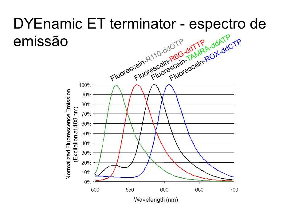 Ar + Laser O CO 2 - N + N ddNTP O CO 2 - N + N O 2 - OH O ddNTP Radiationless Energy Transfer Transferência de energia aumenta a fluorescência