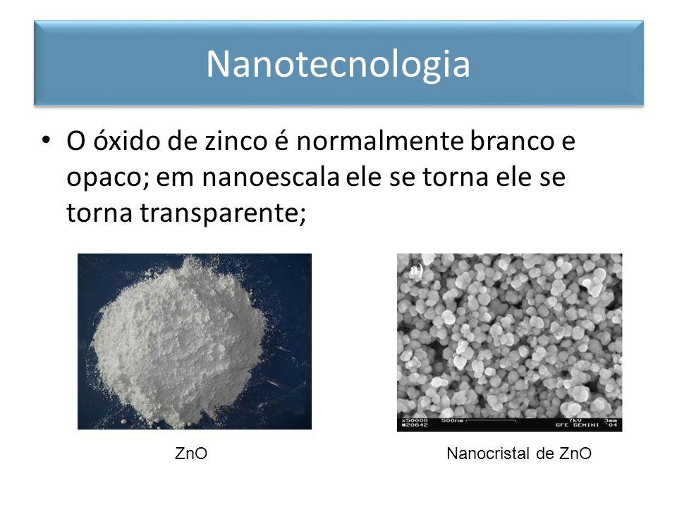 O óxido de zinco é normalmente branco e opaco; em nanoescala ele se torna ele se torna transparente; Nanotecnologia ZnONanocristal de ZnO