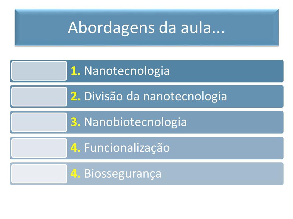 1. Nanotecnologia 2. Divisão da nanotecnologia 3. Nanobiotecnologia 4. Funcionalização 4. Biossegurança Abordagens da aula...