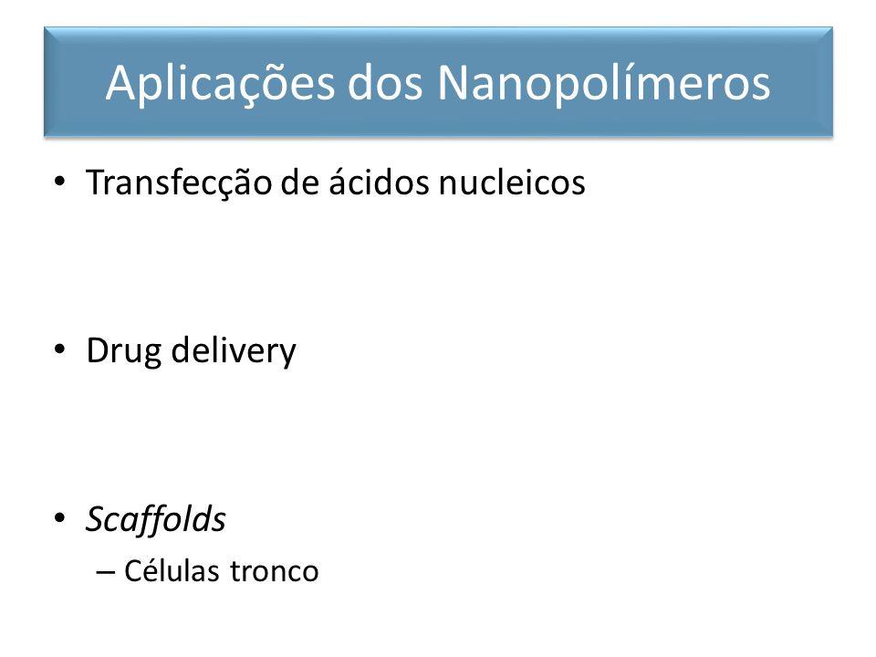 Transfecção de ácidos nucleicos Drug delivery Scaffolds – Células tronco Aplicações dos Nanopolímeros