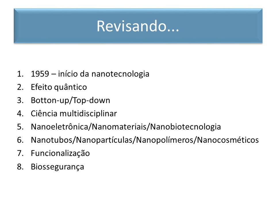 1.1959 – início da nanotecnologia 2.Efeito quântico 3.Botton-up/Top-down 4.Ciência multidisciplinar 5.Nanoeletrônica/Nanomateriais/Nanobiotecnologia 6